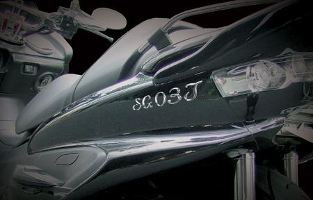 スクリプトラグジーエンブレム装着例:バイク エンブレム