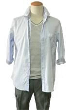 7分袖ストライプシャツ スタイル
