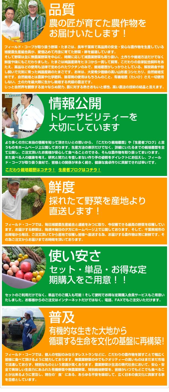 品質。千葉県に出荷場があり農産物は在庫せず、お客様からのご注文後に収穫出荷しているので届く野菜が常に新鮮です。野菜の宅配、卸専門の会社であり続けること。具体的には、会社の売上を重視し色々な商品を寄せ集め、販売しないということです。生産地との交流。弊社が発信する情報や農業体験、見学(アグリツーリスモ)などでお客様が産地と直結した実感・実益を得られる点。顔が見える関係。野菜野菜の旬の時期を大切にしています。お客様が食べる農作物が、どのような農家がつくっているのかも重視し、その栽培方法やおもいもあわせてお伝えできるように努めております。そして、弊社は東京にございます。生産地の千葉県の北総地帯へは、車で120分ぐらいです。その為、私が頻繁に生産地を訪れ、生産者との情報交換をみつにしています。生産地から伝えられる文字や画像の情報だけでは、本来大切にしなければいけない事を見落すことが多いからです。扱う農産物も1件1件現場を見て、触れて、これを食したもの以外は取り扱いません。現在では、お取引している生産者の数も約50名ほどとなり、季節感を重視した、野菜を販売できるようになりました。弊社は個人宅配以外に大きな柱の事業として。商社や問屋、レストランなどに産直の卸をしております。イタリアレストラン、フレンチレストランとのお取引が多く、色々なご要望を頂きます。その為、イタリア野菜やフランス野菜などの作付けも可能な限り行っております。そして生産地を見る、野菜に触れる、現状を理解することが重要であり、その為の活動を、弊社は生産者共々しています