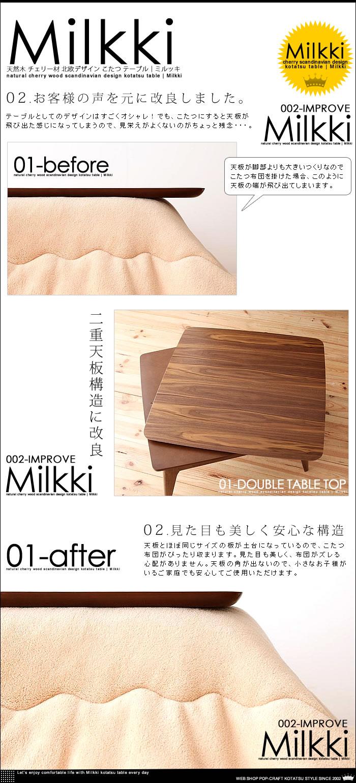 天然木 チェリー材 北欧デザイン こたつ テーブル 【Milkki】ミルッキ コタツ (4)