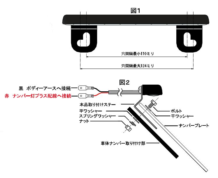 バイク用LEDナンバーライト [高輝度広角LEDホワイト×9発]取り付け方法