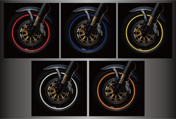 【リムラインデカール 反射タイプ】カラー装着イメージ 反射レッド,反射ブルー,反射イエロー,反射ホワイト,反射オレンジ