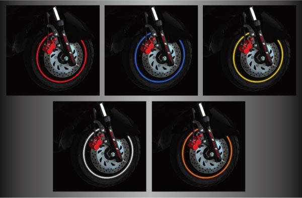 【リムラインデカール 反射タイプ】10〜14インチ用装着例