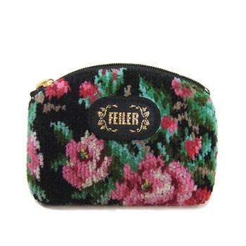 【フェイラーポーチ】ドイツ製 FEILER シェニール織り、バラと独特な色目が魅力のポーチ