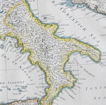 イタリア地図 ナポリ王国 1745年イタリア古地図 原本(額装つき) 美しい輸入額絵の店 クラー