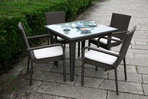 ラタンスクエアテーブル90 ラタンガーデンアームチェア 5点セット