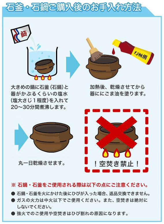石釜・石鍋のお手入れ方法