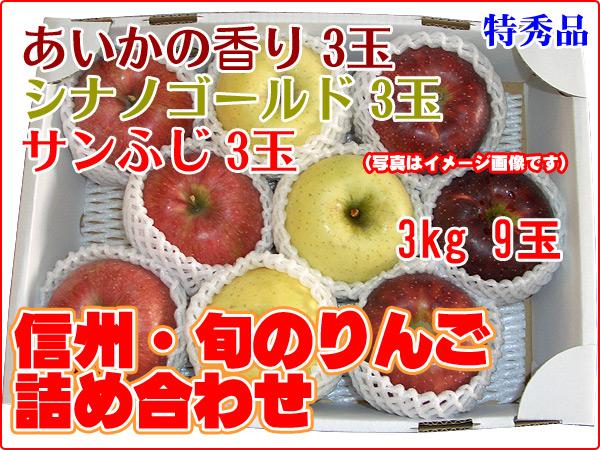 今が旬! シナノゴールド/あいかの香り/サンふじの詰め合わせ3玉×3